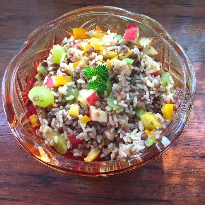 Lentil Rice and Fruit Salad is yummy as a main dish salad or a side dish.