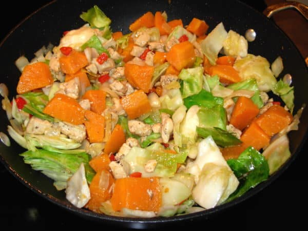 Cabbage, Sweet Potato Stir Fry with Chicken