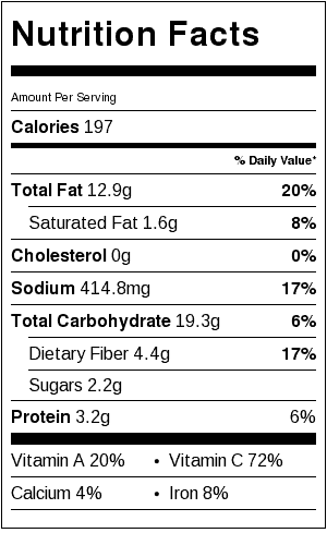 French Barley Salad Nutrition Label. Each serving is about 1 cup.