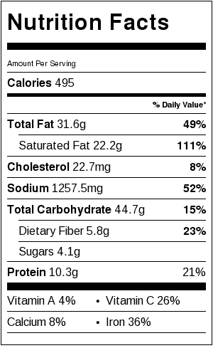 Shrimp and Black Bean Risotto Nutrition Label. Each serving is about 3/4 cup.