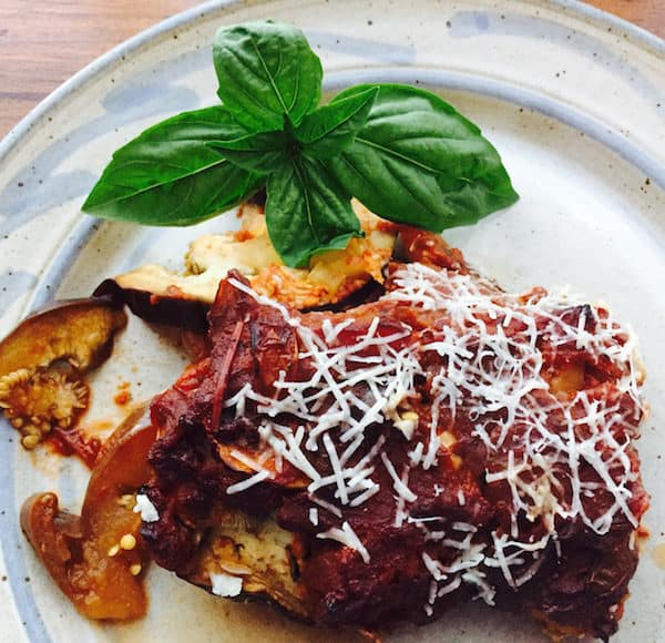 Eggplant Gina. Simple, layered meal.