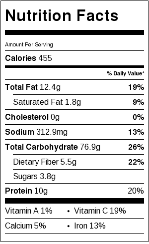Tarragon Rice Pilaf Nutrition Label. Each serving is about 1 cup.