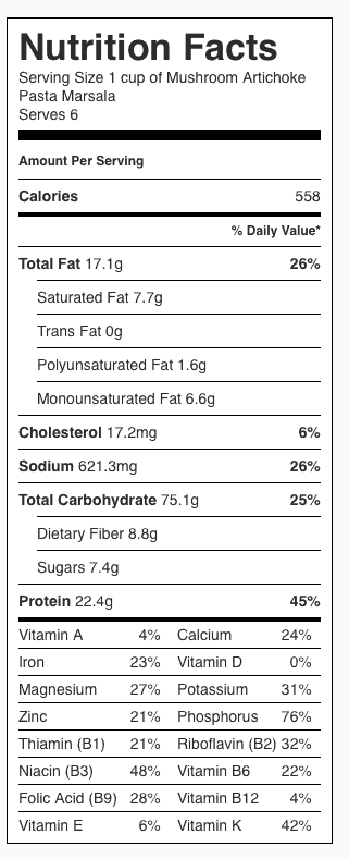 Mushroom Artichoke Pasta Marsala Nutrition Label (Includes Portabellos). Each serving is about one cup.