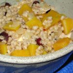 Leftover chicken, mixed with pearl barley and steamed or roasted butternut squash, is a delight.