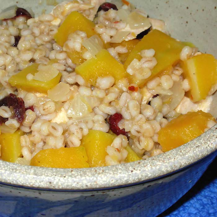 Leftover chicken, mixed with pearl barley and roasted butternut squash, is a delight.