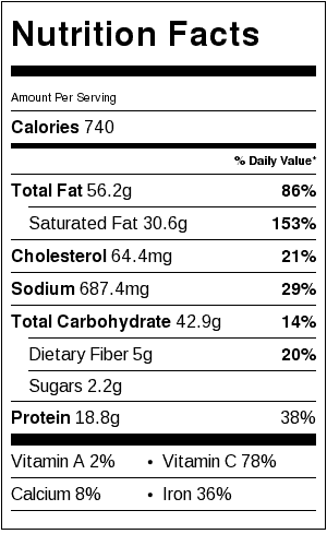 Leek, Potato and Sausage Soup Nutrition Label. Each serving is about 1 cup.