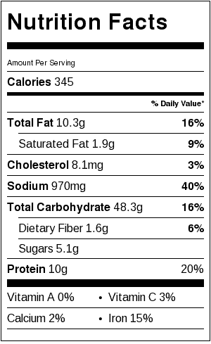Saffron Risotto Nutrition Label. Each serving is about 1/2 cup.