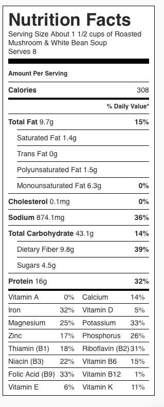 Mushroom Bean Soup Nutrition Label. Each serving is about 1 1/2 cups.