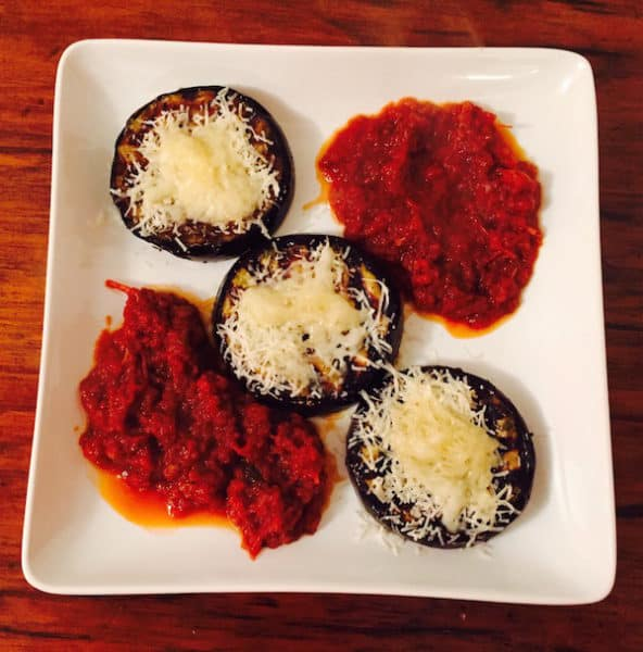 Grilled Lighter Eggplant Parmesan with Sauce