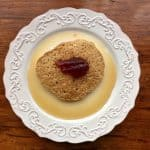 Gluten Free Oatmeal Pancake with jam and syrup