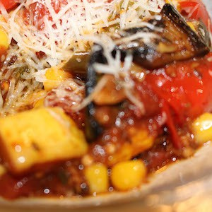 Roasted Ratatouille with Corn, tasty meal.