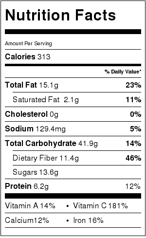 Roasted Ratatouille with Corn Nutrition Label. Each serving is about 1 & 1/2 cups.