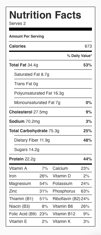 Nutrition label: Oats, banana, walnuts and milk. Each serving is about 1/2 cup oats, 1/2 banana, 1/4 cup walnuts and 1/2 cup milk.
