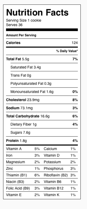 Oatmeal Craisin Cookies Nutrition Label. Each serving is one cookie (NO pecans).