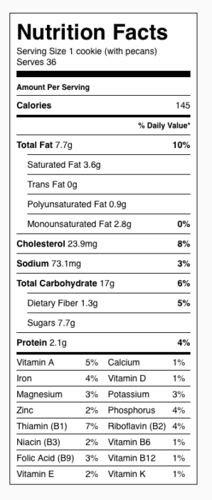 Oatmeal Craisin Pecan Cookies Nutrition Label. Each serving is one cookie (including pecans).