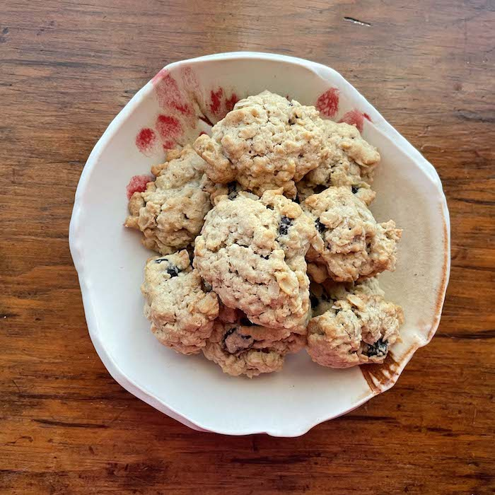 """Oatmeal Craisin Pecan Cookies, shown on a plate by <a href=""""https://www.karyhaun.com"""" target=""""_blank"""" rel=""""noopener""""><span style=""""text-decoration: underline;""""><strong>Kary Haun, potter</strong></span></a>."""