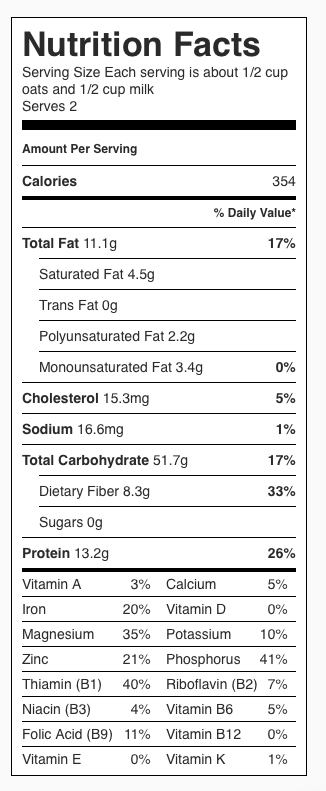 Nutrition Label: Oats and milk only (no banana or walnuts). Each serving is 1/2 cup oats and 1/2 cup milk.