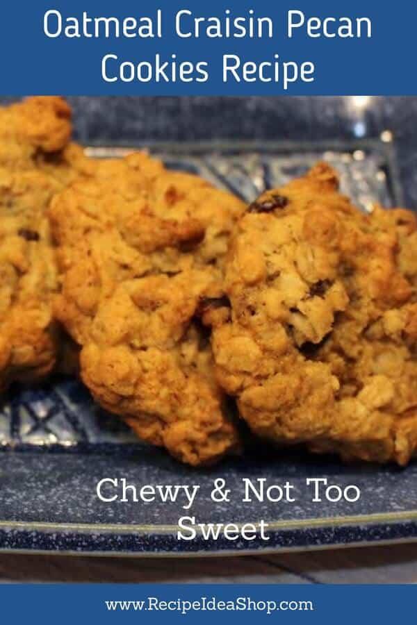 Such good Oatmeal Cookies: Oatmeal Craisin Pecan Cookies. #oatmealcookies #oatmealcookiesrecipe #cookies #cookierecipes #oatmealcraisinpecancookies #recipes #recipeideashop