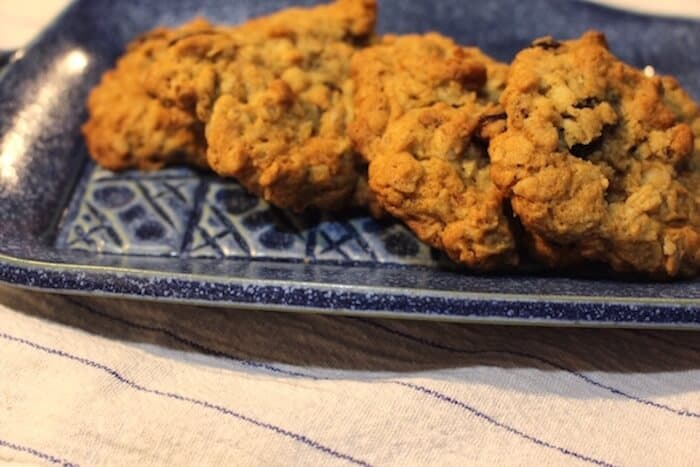 Oatmeal Craisin Pecan Cookies. Plate by Elizabeth Krome, Quail Run Pottery.