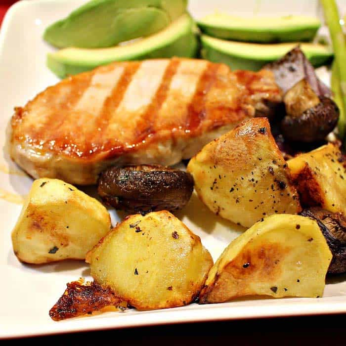 Roasted Potatoes and Mushrooms are an excellent accompaniment to grilled meat. Or skip the meat and add a salad for a vegan feast.