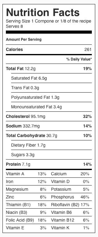 Jalapeño Cornbread (Gluten Free) Nutrition Label. Each serving is 1/8 the recipe or one cornpone.