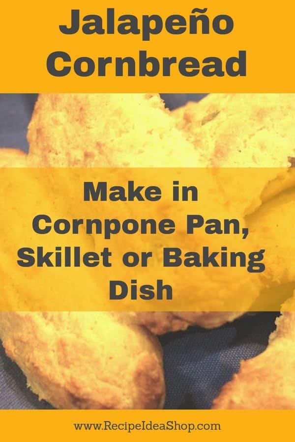 Jalapeño Cornbread made in a cornpone pan with gluten free ingredients is SO good. Light, delicious! #jalapeñocornbread; #cornbread; #homecooking; Southerncooking; #recipes; #glutenfree; #recipeideashop