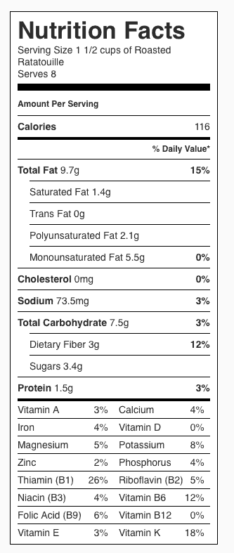 Roasted Ratatouille Nutrition Label. Each serving is about 1-1/2 cups. Serves 8.
