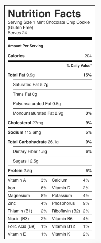 Nutrition Label: Mint Chocolate Chip Cookies (GF). Each serving is one cookie.