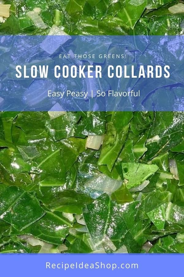 "Robin Robertson's ""Messa"" Collards. Slow cooker recipe. A tasty way to eat your greens. #robinrobertsonsmessacollards #collards #slowcooker #glutenfree #vegan #comfortfood #recipeideashop"