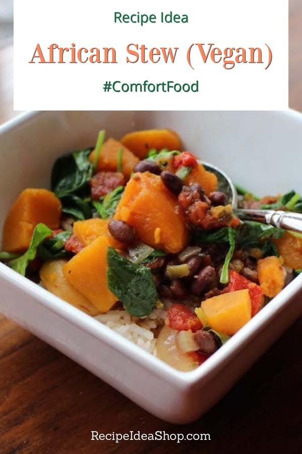 African Stew Slow Cooker Recipe (vegan, gluten free) is super good. #africanstew #vegan #vegetarian #glutenfree #slowcooker #recipes #soup-recipes #recipeideashop