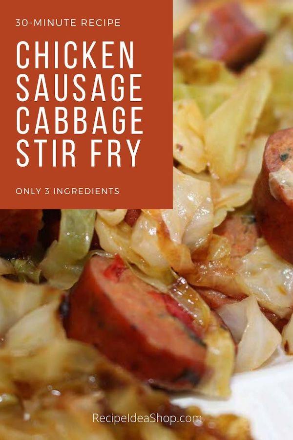 Chicken Sausage and Cabbage Stir Fry. I'm so glad it's fall! Yum. #chickensausagecabbagestirfry #stirfry #chickenandcabbage #sausageandcabbage #glutenfree #recipes #comfortfood #recipeideashop