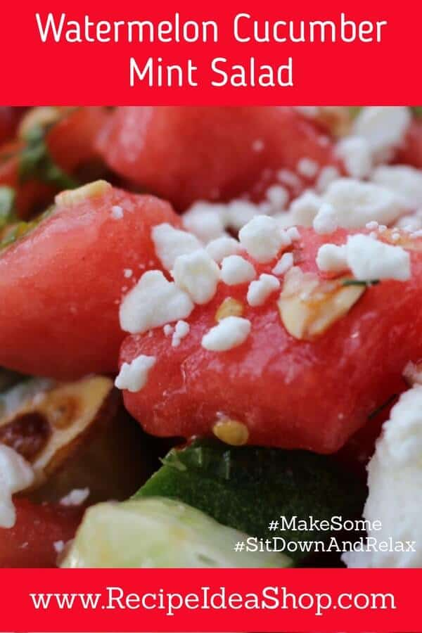 Watermelon Cucumber Mint Salad with Tomatoes, Feta and Almonds. #watermelonmintsalad, #watermeloncucumbermintsalad, #watermelonfetamintsalad, #recipeideashop