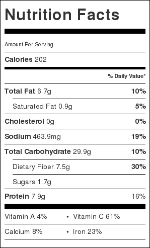 Quinoa, Artichokes, Hearts of Palm Salad Nutrition Label. Each serving is 1 cup.