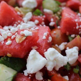 Minty Watermelon Tomato Cucumber Salad