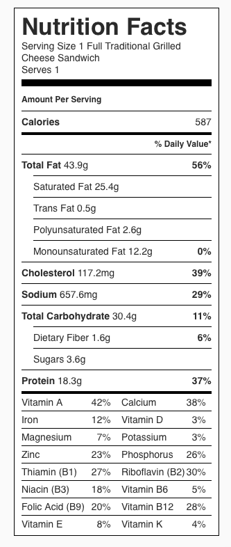 Traditional Grilled Cheese Sandwich Nutrition Label. Each serving is one full sandwich.