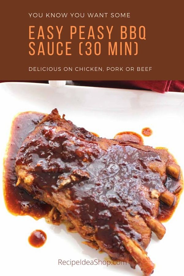 Easy BBQ Sauce. Whip it up in 10 minutes. Apply to your meat the last 20 minutes of grilling time. So simple and delicious. #bbqsauce #barbequesauce #bbqbarbequesauce #grillingsauce #grilling #comfortfood #recipes #recipeideashop