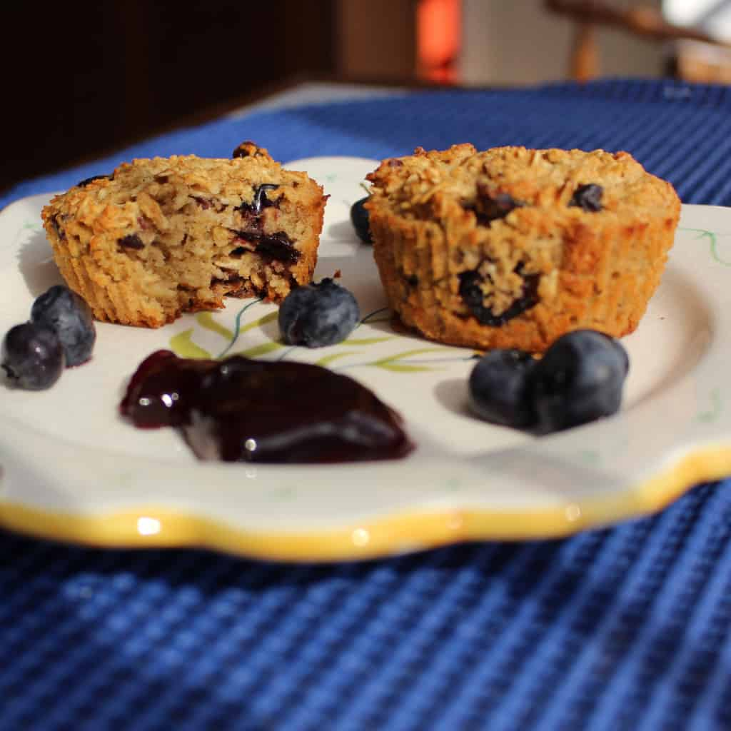 Gluten Free Blueberry Muffins with Oats. These are SO good.