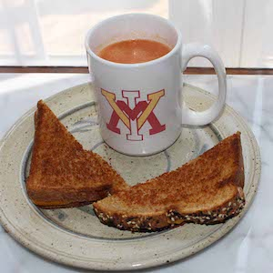 Traditional Grilled Cheese Sandwich, shown with a VMI mug full of tomato soup.