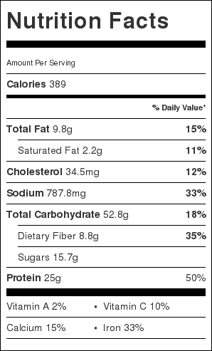 Crockpot Maple Baked Beans with Ham Nutrition Label. Each serving is about 1/4 cup.