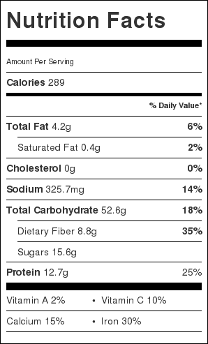 Crockpot Maple Baked Beans (without Ham) Nutrition Label. Each serving is about 1/4 cup.