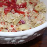 Quinoa Artichoke Salad with Hearts of Palm is a protein-filled vegan entree.