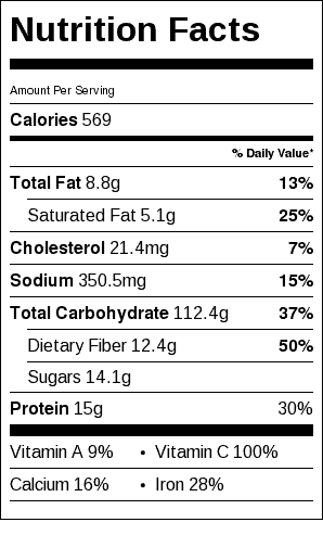 Grilled Scalloped Potatoes Nutrition Label. Each serving is about 1/2 cup.