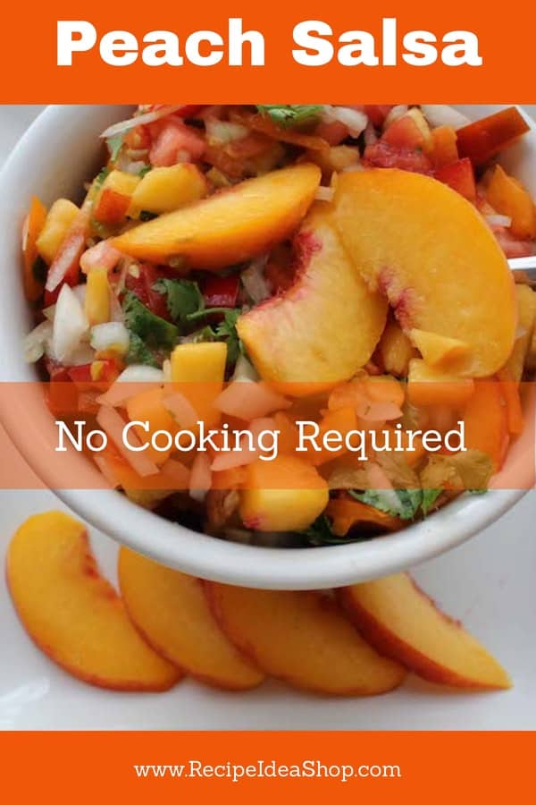 Peach Salsa. You won't believe how good this is. And easy. Did I say easy? #peachsalsa #peachsalsarecipe #peachrecipes #salsarecipes #glutenfree #vegan #vegetarian #recipes #recipeideashop