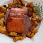Roasted Pumpkin, shown with Bourbon Salmon. What a combo!