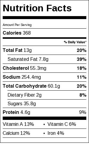 Blueberry Buckle Nutrition Label. Each serving is 2 inches square.