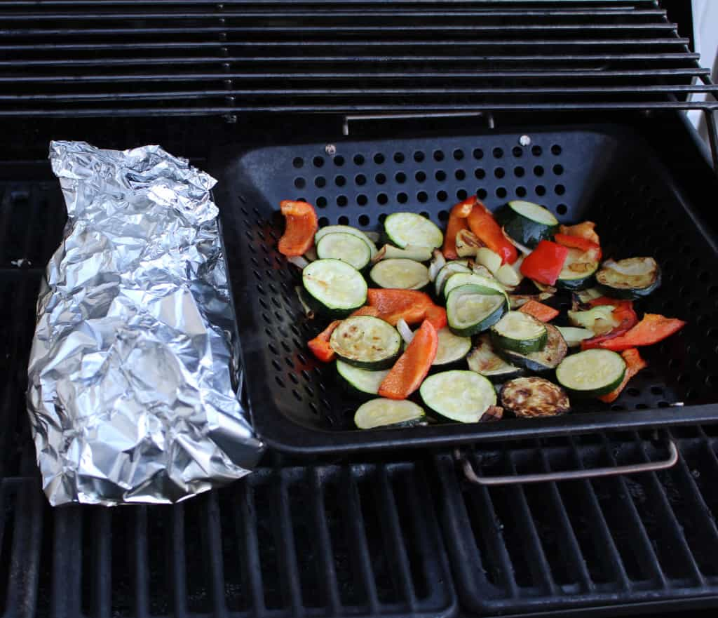 You can grill vegetables in a vegetable basket or by making a vegetable container with aluminum foil.