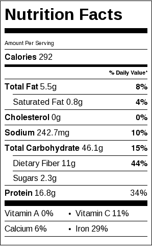 Dahl Nutritional Label. Each serving is about 1 cup.