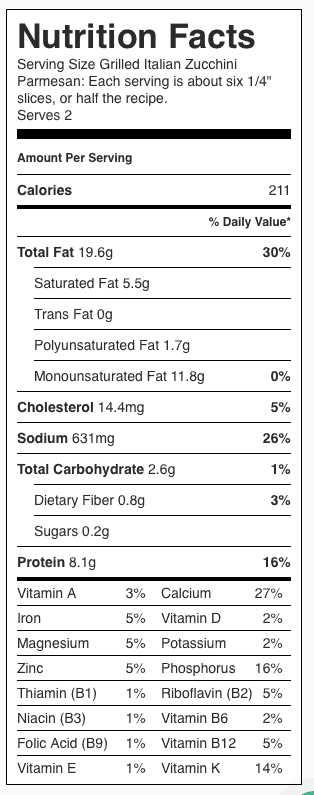 Grilled Italian Zucchini Nutrition Label. Each serving is about 6 slices.