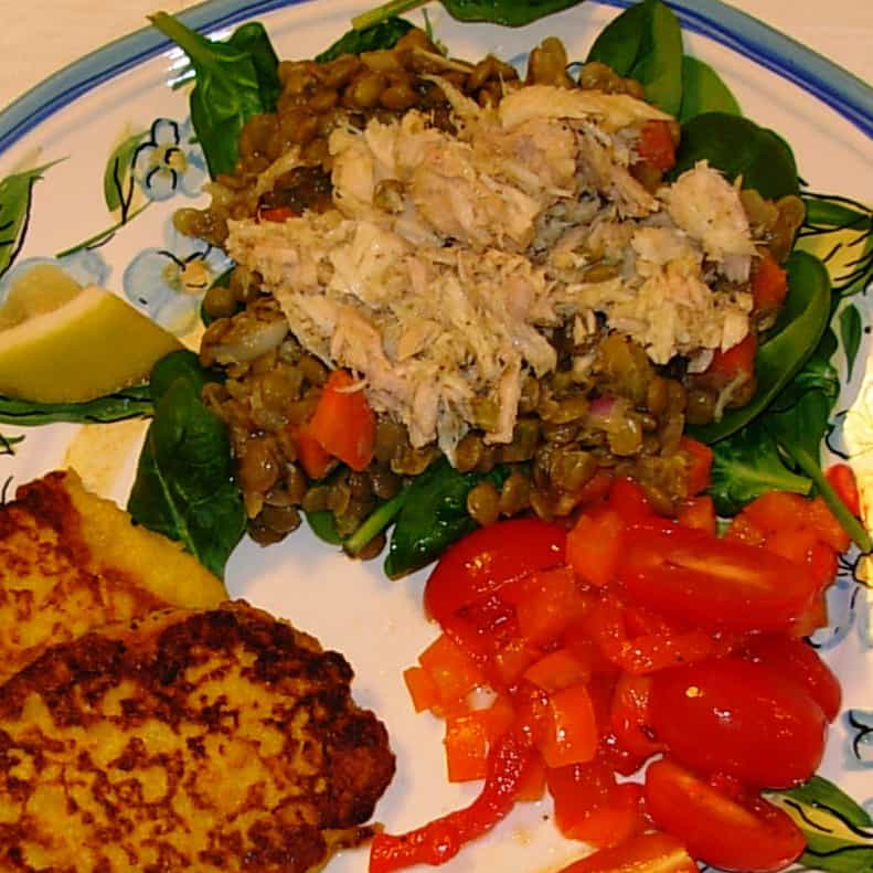 Lentil, Lemon and Tuna Salad. Very French. Very good.