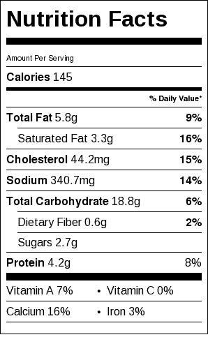James Beard's Pancakes Nutrition Label. Serving size is one pancake.